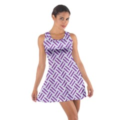 Woven2 White Marble & Purple Denim (r) Cotton Racerback Dress