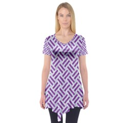 Woven2 White Marble & Purple Denim (r) Short Sleeve Tunic  by trendistuff