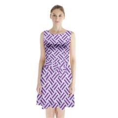 Woven2 White Marble & Purple Denim (r) Sleeveless Waist Tie Chiffon Dress