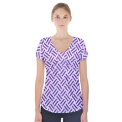 Woven2 White Marble & Purple Denim (r) Short Sleeve Front Detail Top