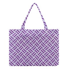 Woven2 White Marble & Purple Denim (r) Medium Tote Bag