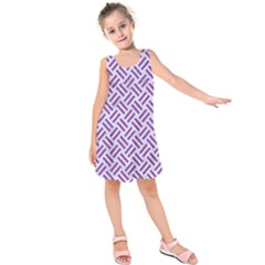 Woven2 White Marble & Purple Denim (r) Kids  Sleeveless Dress