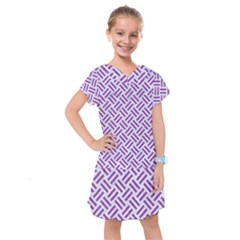 Woven2 White Marble & Purple Denim (r) Kids  Drop Waist Dress