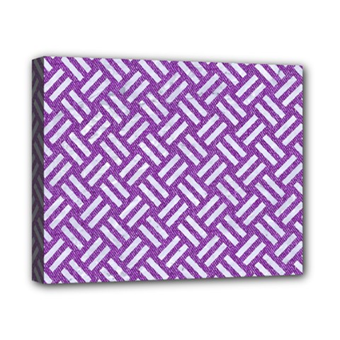 Woven2 White Marble & Purple Denim Canvas 10  X 8
