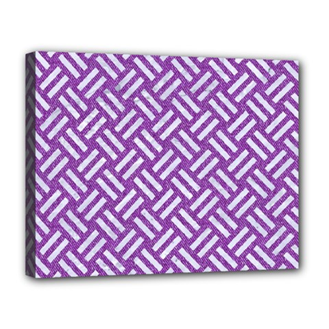 Woven2 White Marble & Purple Denim Canvas 14  X 11  by trendistuff