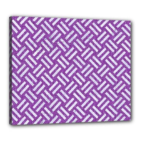 Woven2 White Marble & Purple Denim Canvas 24  X 20
