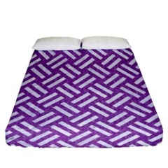 Woven2 White Marble & Purple Denim Fitted Sheet (queen Size)