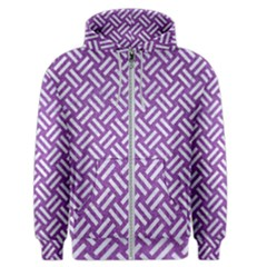 Woven2 White Marble & Purple Denim Men s Zipper Hoodie