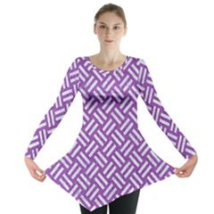 Woven2 White Marble & Purple Denim Long Sleeve Tunic