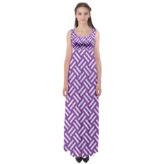 Woven2 White Marble & Purple Denim Empire Waist Maxi Dress