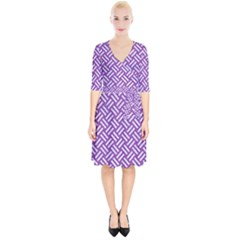 Woven2 White Marble & Purple Denim Wrap Up Cocktail Dress