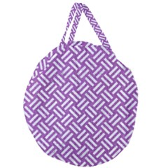 Woven2 White Marble & Purple Denim Giant Round Zipper Tote