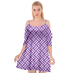 Woven2 White Marble & Purple Denim Cutout Spaghetti Strap Chiffon Dress by trendistuff