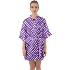 Woven2 White Marble & Purple Denim Quarter Sleeve Kimono Robe