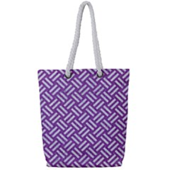 Woven2 White Marble & Purple Denim Full Print Rope Handle Tote (small)