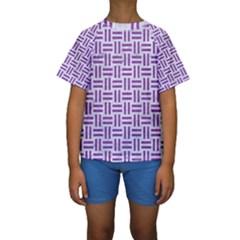 Woven1 White Marble & Purple Denim (r) Kids  Short Sleeve Swimwear