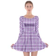 Woven1 White Marble & Purple Denim (r) Long Sleeve Skater Dress