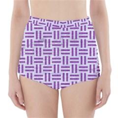 Woven1 White Marble & Purple Denim (r) High Waisted Bikini Bottoms