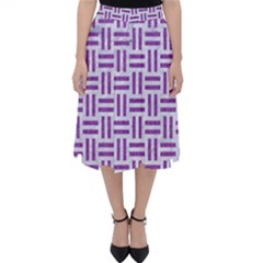 Woven1 White Marble & Purple Denim (r) Folding Skater Skirt