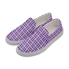 Woven1 White Marble & Purple Denim (r) Women s Canvas Slip Ons by trendistuff