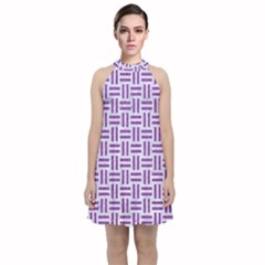 Woven1 White Marble & Purple Denim (r) Velvet Halter Neckline Dress  by trendistuff