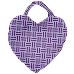 Woven1 White Marble & Purple Denim (r) Giant Heart Shaped Tote by trendistuff