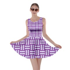 Woven1 White Marble & Purple Denim Skater Dress