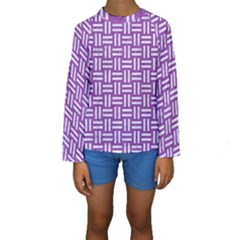 Woven1 White Marble & Purple Denim Kids  Long Sleeve Swimwear