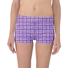 Woven1 White Marble & Purple Denim Boyleg Bikini Bottoms