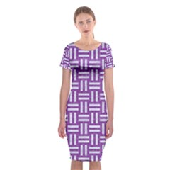 Woven1 White Marble & Purple Denim Classic Short Sleeve Midi Dress