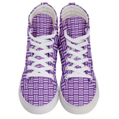 Woven1 White Marble & Purple Denim Men s Hi Top Skate Sneakers