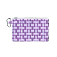 Woven1 White Marble & Purple Denim Canvas Cosmetic Bag (small)