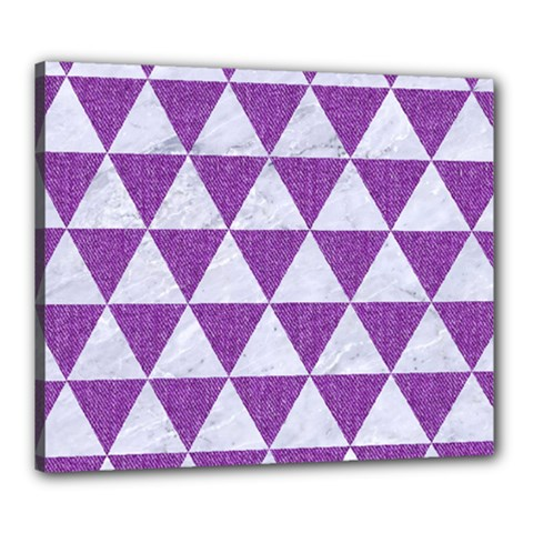 Triangle3 White Marble & Purple Denim Canvas 24  X 20