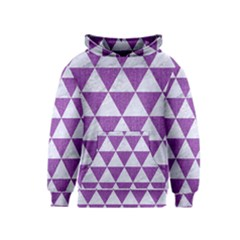 Triangle3 White Marble & Purple Denim Kids  Pullover Hoodie