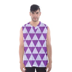 Triangle3 White Marble & Purple Denim Men s Basketball Tank Top