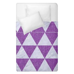 Triangle3 White Marble & Purple Denim Duvet Cover Double Side (single Size) by trendistuff