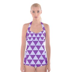 Triangle3 White Marble & Purple Denim Boyleg Halter Swimsuit