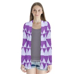 Triangle3 White Marble & Purple Denim Drape Collar Cardigan