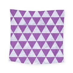 Triangle3 White Marble & Purple Denim Square Tapestry (small) by trendistuff