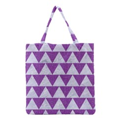 Triangle2 White Marble & Purple Denim Grocery Tote Bag by trendistuff