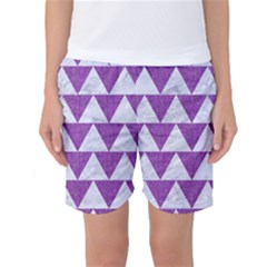 Triangle2 White Marble & Purple Denim Women s Basketball Shorts