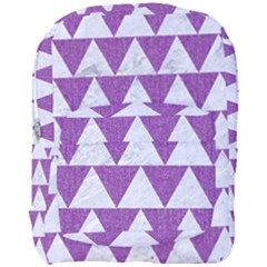 Triangle2 White Marble & Purple Denim Full Print Backpack by trendistuff