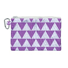 Triangle2 White Marble & Purple Denim Canvas Cosmetic Bag (large) by trendistuff
