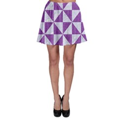 Triangle1 White Marble & Purple Denim Skater Skirt