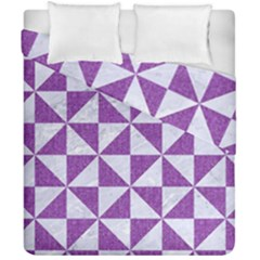 Triangle1 White Marble & Purple Denim Duvet Cover Double Side (california King Size)