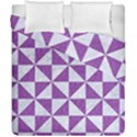 TRIANGLE1 WHITE MARBLE & PURPLE DENIM Duvet Cover Double Side (California King Size) View1