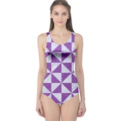 Triangle1 White Marble & Purple Denim One Piece Swimsuit