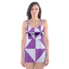 Triangle1 White Marble & Purple Denim Skater Dress Swimsuit