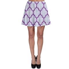 Tile1 White Marble & Purple Denim (r) Skater Skirt