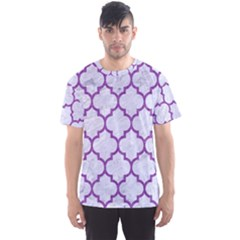 Tile1 White Marble & Purple Denim (r) Men s Sports Mesh Tee